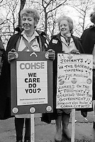 Protest Line at Sheffield's Northern General Hospital during a day of action calling on the Chancellor to increase funding for the NHS in the Budget. Sheffield 14.3.88