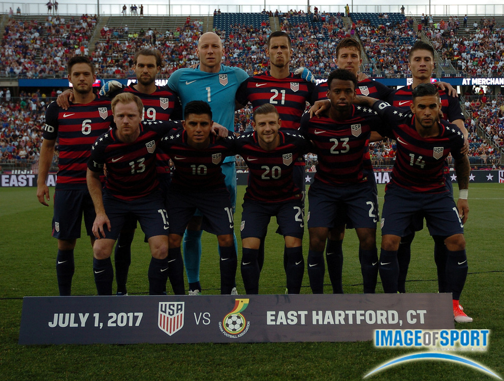 Jul 1, 2017; East Hartford, CT, USA;  United States soccer team poses before a friendly match with Ghana in East Hartford, CT at Rentschler Field. USA defeated Ghana 2 to 1. Photo by Reuben Canales