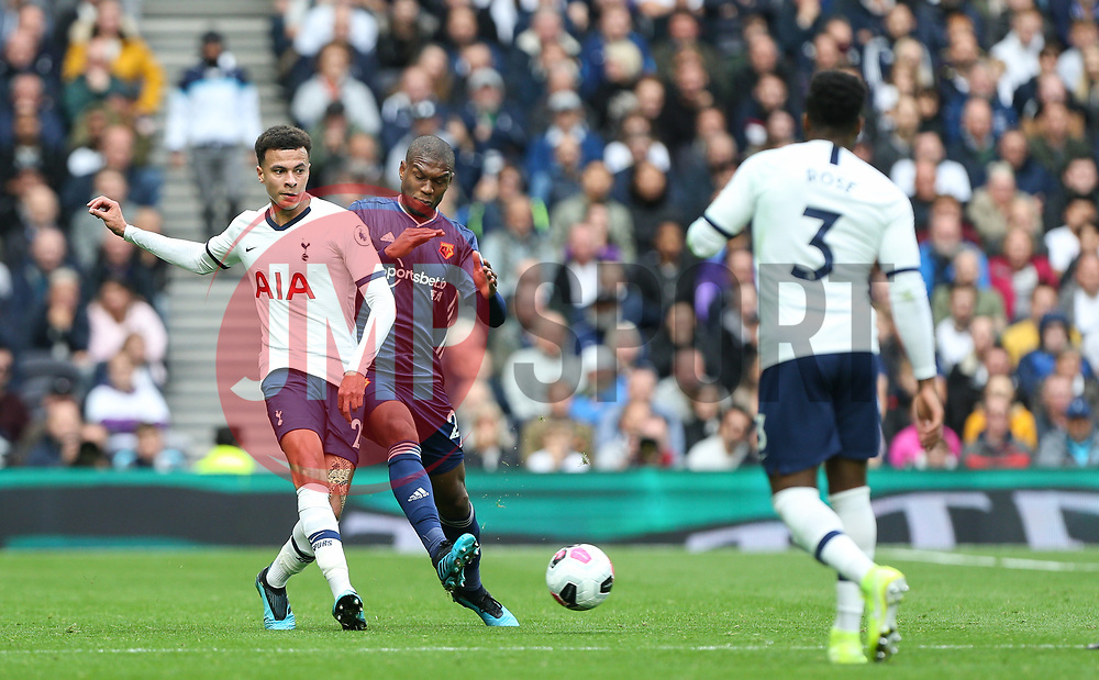 Dele Alli of Tottenham Hotspur passes the ball under pressure - Mandatory by-line: Arron Gent/JMP - 19/10/2019 - FOOTBALL - Tottenham Hotspur Stadium - London, England - Tottenham Hotspur v Watford - Premier League