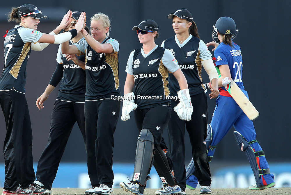 Sian Ruck of New Zealand celebrates the wicket of Lydia Greenway of England  during the ICC Women's World Twenty20 Semi final match between England and New Zealand held at the Premadasa Stadium in Colombo, Sri Lanka on the 4th October  2012<br /> <br /> Photo by Ron Gaunt/SPORTZPICS/PHOTOSPORT