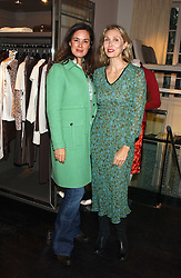 Left to right, Jeweller CELIA FORNER VENTURI and ALLEGRA HICKS at a lunch at Allegra Hicks, 28 Cadogan Place, London to view their new collection of handbags by F.O.U. on 20th October 2005.<br />