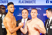 Tony Yoka (fra) and Cyril Leonet (fra) during the official weighing and press conference before the heavyweight boxing bout between Tony Yoka (FRA) and Cyril Leonet (FRA) on April 6, 2018 in Boulogne-Billancourt, France - Photo Pierre Charlier / ProSportsImages / DPPI