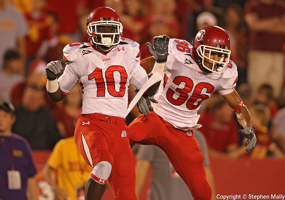 October 9 2010: Utah Utes wide receiver DeVonte Christopher (10) and Utah Utes running back Eddie Wide (36) celebrate a score during the first half of the NCAA football game between the Utah Utes and the Iowa State Cyclones at Jack Trice Stadium in Ames, Iowa on Saturday October 9, 2010. Utah defeated Iowa State 68-27.