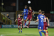 AFC Wimbledon midfielder Tom Soares (19) and Bradford City defender Anthony O'Connor (6) battles for possession during the EFL Sky Bet League 1 match between AFC Wimbledon and Bradford City at the Cherry Red Records Stadium, Kingston, England on 2 October 2018.