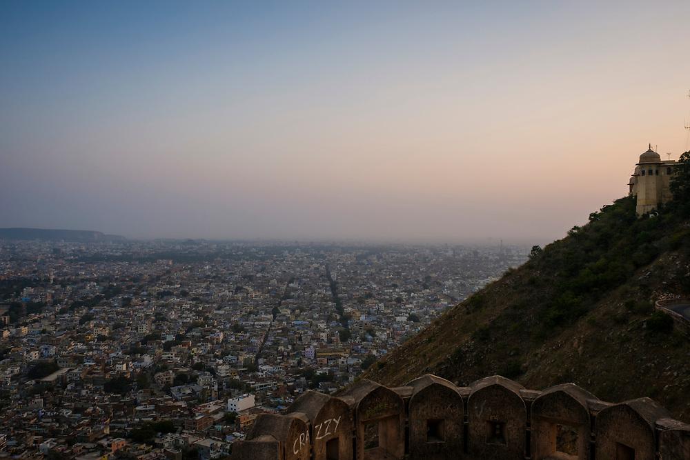 JAIPUR, INDIA - CIRCA NOVEMBER 2016: Panoramic View of Jaipur from the Fort Nahargarh