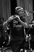 Saxophone/woodwinds virtuoso Jeff Coffin, recording in the studio with big band leader/ arranger Tyler Mire in 2016 for an as yet unreleased CD project.