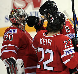 Goalkeeper Cam Ward, Brent Burns (8) and Duncan Keith (22) after play-off round quarterfinals ice-hockey game Norway vs Canada at IIHF WC 2008 in Halifax,  on May 14, 2008 in Metro Center, Halifax, Nova Scotia,Canada. (Photo by Vid Ponikvar / Sportal Images)