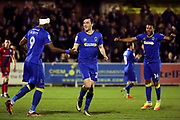 AFC Wimbledon defender Sean Kelly (22) celebrating after scoring goal to make it 1-0 during the EFL Sky Bet League 1 match between AFC Wimbledon and Rochdale at the Cherry Red Records Stadium, Kingston, England on 28 March 2017. Photo by Matthew Redman.