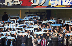 Malmo fans making a lot of noise in support of their team during the game