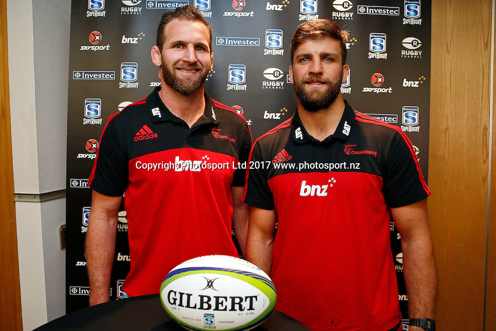 Crusaders Kieran Read (L) and Heiden Bedwell-Curtis, Super Rugby 2017 season launch. #superboomboom Sky City Convention centre, Auckland. 14 February 2017. Copyright Image: William Booth / www.photosport.nz