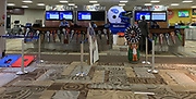 Apr 24, 2019; Nashville, TN, USA; General overall view ofpennants of AFC teams Tennessee Titans, Houston Texans, Los Angeles Chargers, Jacksonville Jaguars, Indianapolis Colts, Denver Broncos, Oakland Raiders and Kansas City Chiefs snd NFC teams San Francisco 49ers, Arizona Cardinals and Los Angeles Rams  at the Concourse C of the Nashville International Airport (BNA) prior to the 2019 NFL Draft.