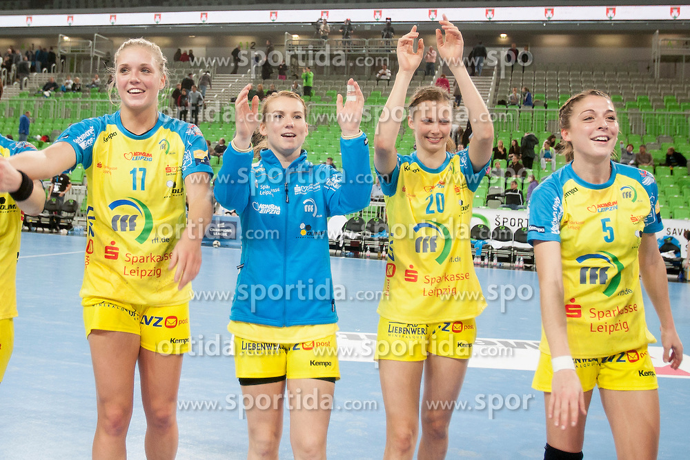 Players of HC Leipzig during handball match between RK Krim Mercator (SLO) and HC Leipzig (GER) in 6th Round of Women's EHF Champions League 2014/15, on November 21, 2014 in Arena Stozice, Ljubljana, Slovenia. Photo by Urban Urbanc / Sportida