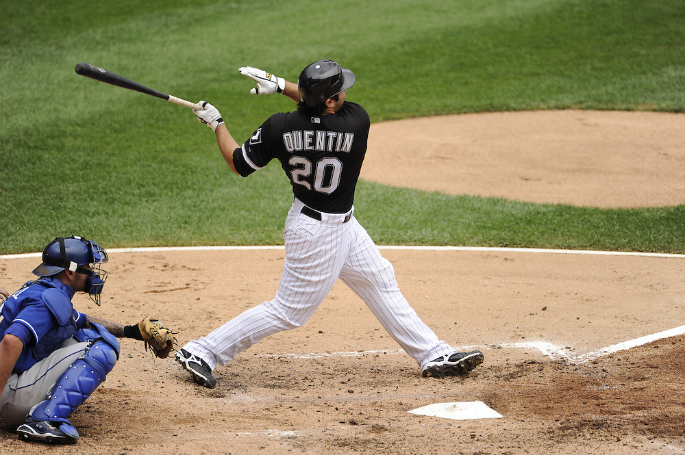 CHICAGO - JULY 11:  Carlos Quentin #20 of the Chicago White Sox hits the first of his two home runs in the third inning against the Kansas City Royals on July 11, 2010 at U.S. Cellular Field in Chicago, Illinois.  The White Sox defeated the Royals 15-5.  (Photo by Ron Vesely)