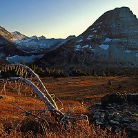 Bearhat Mountain at sunset in the fall. Logan Pass, Glacier National Park, Montana.
