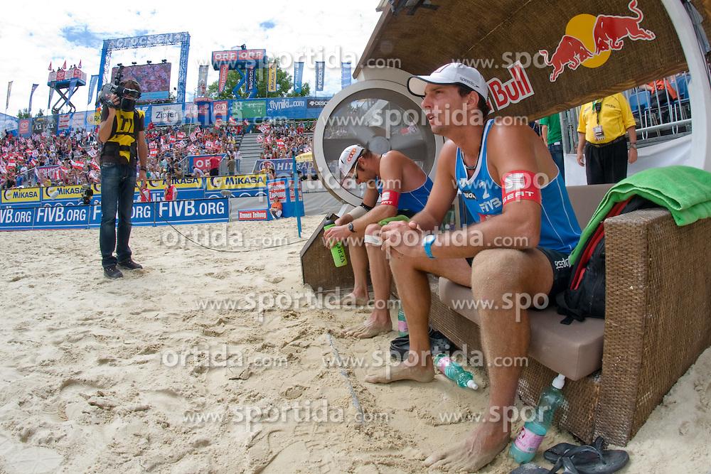 Martin Laciga M. and Jefferson Bellaguarda of Switzerland at A1 Beach Volleyball Grand Slam tournament of Swatch FIVB World Tour 2010, on July 31, 2010 in Klagenfurt, Austria. (Photo by Matic Klansek Velej / Sportida)