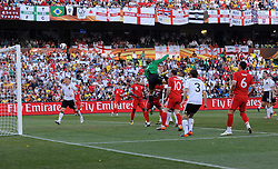 Matthew UPSON scores for England during the 2010 World Cup Soccer match between England and Germany in a group 16 match played at the Freestate Stadium in Bloemfontein South Africa on 27 June 2010.