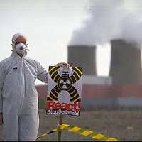 Greenpeace protest at Sellafield nuclear reprocessing plant in Cumbria  against the new THORP plant due to open in 1992.  THORP will increase  radioactive emissions from Sellafield by up to 1000%.  The Irish rock band U2 joined with Greenpeace in the protest.  Accession #: 0.92.263.001.07