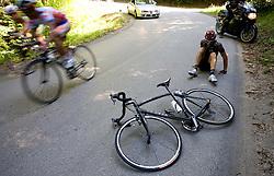 Daniele Colli (ITA) of Carmiooro - A Style injured at 2nd stage of Tour de Slovenie 2009 from Kamnik to Ljubljana, 146 km, on June 19 2009, Slovenia. (Photo by Vid Ponikvar / Sportida)