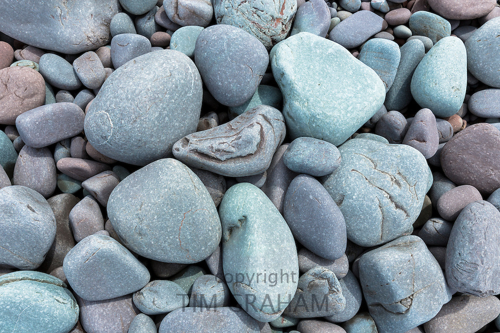 Pebbles in pastel colours on Bossington Beach, Somerset, UK