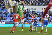 Walsall FC goalkeeper Neil Etheridge collects a cross during the The FA Cup fourth round match between Reading and Walsall at the Madejski Stadium, Reading, England on 30 January 2016. Photo by Mark Davies.