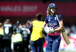 Sarah Taylor of England Women cuts a dejected figure after being caught and bowled by Leigh Kasperek of New Zealand Women - Mandatory by-line: Robbie Stephenson/JMP - 12/07/2017 - CRICKET - The County Ground Derby - Derby, United Kingdom - England v New Zealand - ICC Women's World Cup match 21