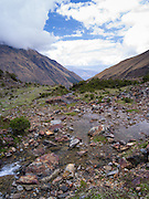 Looking down the valley from Lago Humantay, near Soraypampa, Peru.