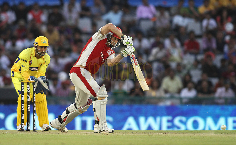 Shaun Marsh of the Kings XI Punjab straight drives a delivery during match 9 of the Indian Premier League ( IPL ) Season 4 between the Kings XI Punjab and the Chennai Super Kings held at the PCA stadium in Mohali, Chandigarh, India on the 13th April 2011..Photo by Shaun Roy/BCCI/SPORTZPICS