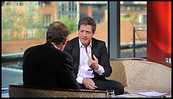 Hugh Grant from Hacked off on the Andrew Marr Show at the Conservative Party Conference in Birmingham, Sunday October 7, 2012, Photograph by Andrew Parsons / i-Images