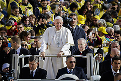 November 12, 2016 - Vatican City, Vatican - Pope Francis rides on the Popemobile through the crowd of the faithful as he arrives to celebrate an extraordinary Jubilee Audience as part of ongoing celebrations of the Holy Year of Mercy in St. Peter's Square in Vatican City, Vatican on November 12, 2016. Pope Francis presided over the last special audience for the Jubilee of Mercy this morning, during which he called on Christians to witness to Gods mercy by being inclusive. (Credit Image: © Giuseppe Ciccia/NurPhoto via ZUMA Press)
