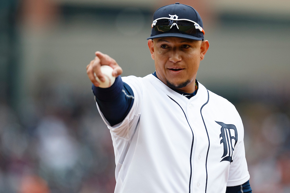 Apr 6, 2015; Detroit, MI, USA; Detroit Tigers first baseman Miguel Cabrera (24) points towards Minnesota Twins dugout during the second inning at Comerica Park. Mandatory Credit: Rick Osentoski-USA TODAY Sports