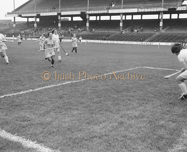 The goalie catches the slitor during the Dublin v Clare All Ireland Junior Camogie Final in Croke Park on the 15th of September 1974.