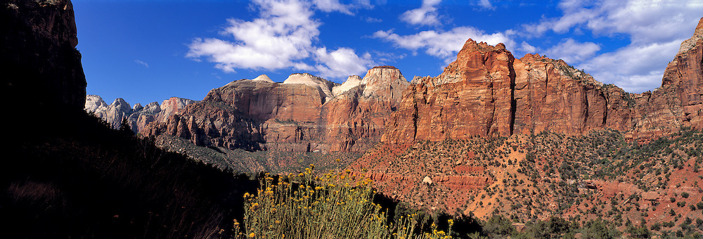 The Great White Throne is to the left of center in this wall of sandstone in Zion NP, Utah.