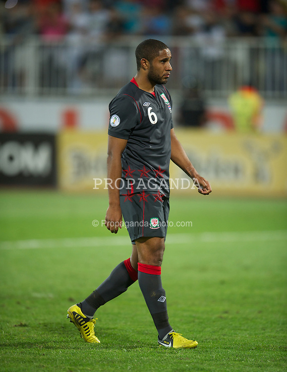 NOVI SAD, SERBIA - Tuesday, September 11, 2012: Wales' Ashley Williams looks dejected as his side lose 6-1 against Serbia during the 2014 FIFA World Cup Brazil Qualifying Group A match at the Karadorde Stadium. (Pic by David Rawcliffe/Propaganda)