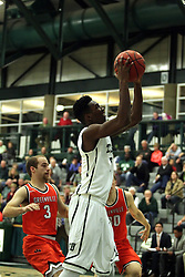 17 November 2015:  Jaylen Beasley(5) gets a close shot during an NCAA men's division 3 CCIW basketball game between the Greenville College Panthers and the Illinois Wesleyan Titans in Shirk Center, Bloomington IL