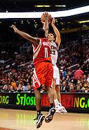 Jan. 6 2010; Phoenix, AZ, USA; Phoenix Suns guard Steve Nash (13) puts up a shot against the Houston Rockets guard Aaron Brooks (0) at the US Airways Center. Phoenix Suns defeated the Houston Rockets 118-110.  Mandatory Credit: Jennifer Stewart-US PRESSWIRE.