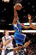 Mar. 14 2010; Phoenix, AZ, USA; New Orleans Hornets guard Marcus Thornton (5) puts up a shot in the first half at the US Airways Center. The Suns defeat the Hornets 120 to 106. Mandatory Credit: Jennifer Stewart-US PRESSWIRE.