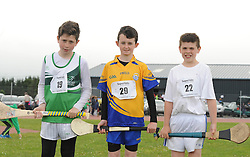 Boys U14 Long Puck 4th Patrick Carney (Islandeady),1st Adam Gallagher (Knockmore) and 2nd Killian Conroy Claremorris at the Mayo Community Games.<br /> Pic Conor McKeown