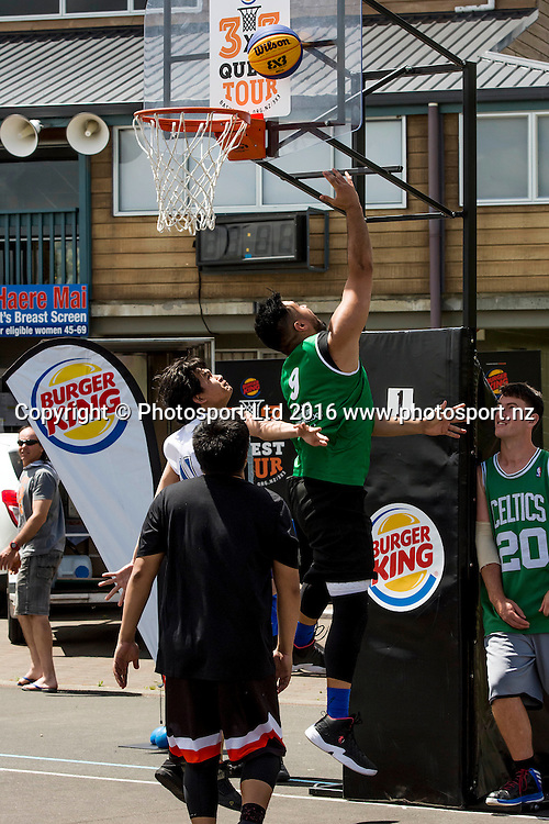Competitors in action from the first leg of the Burger King 3x3 Basketball Quest tour in Whangarei.<br /> Whangarei Netball Courts, 26 November 2016.<br /> Copyright photo: Malcolm Pullman / www.photosport.nz