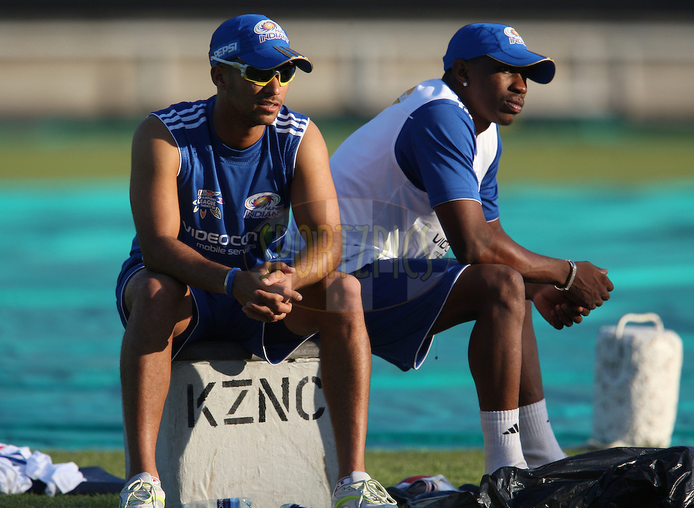Jean Paul Duminy and Dwayne Bravo during the Mumbai Indians training session held at Kingsmead Stadium in Durban on the 12 September 2010..Photo by: Steve Haag/SPORTZPICS/CLT20.