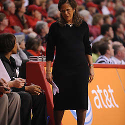 Jan 31, 2009; Piscataway, NJ, USA; Rutgers head coach C. Vivian Stringer reacts to a play during the second half of South Florida's 59-56 victory over Rutgers in NCAA women's college basketball at the Louis Brown Athletic Center