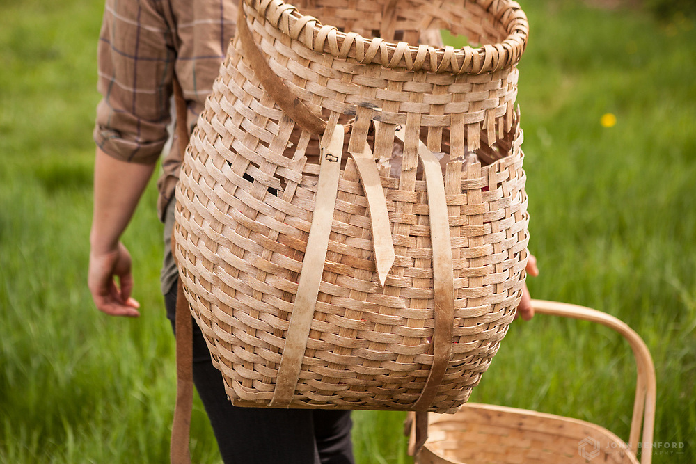 A professional forager wanders through a meadow with her baskets.