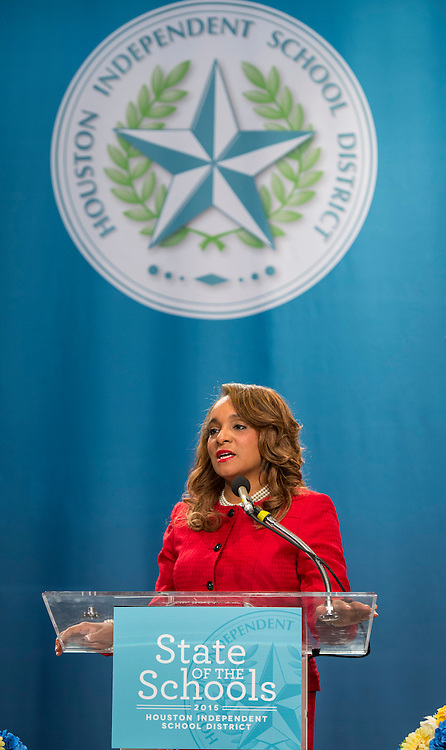 Houston ISD Board of Trustees President Rhonda Skillern-Jones comments during the State of the Schools luncheon, February 11, 2015.