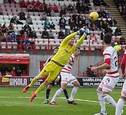 Hamilton&rsquo;s Michael McGovern punches clear - Hamilton v Dundee, Ladbrokes Scottish Premiership at New Douglas Park<br />  <br />  - &copy; David Young - www.davidyoungphoto.co.uk - email: davidyoungphoto@gmail.com