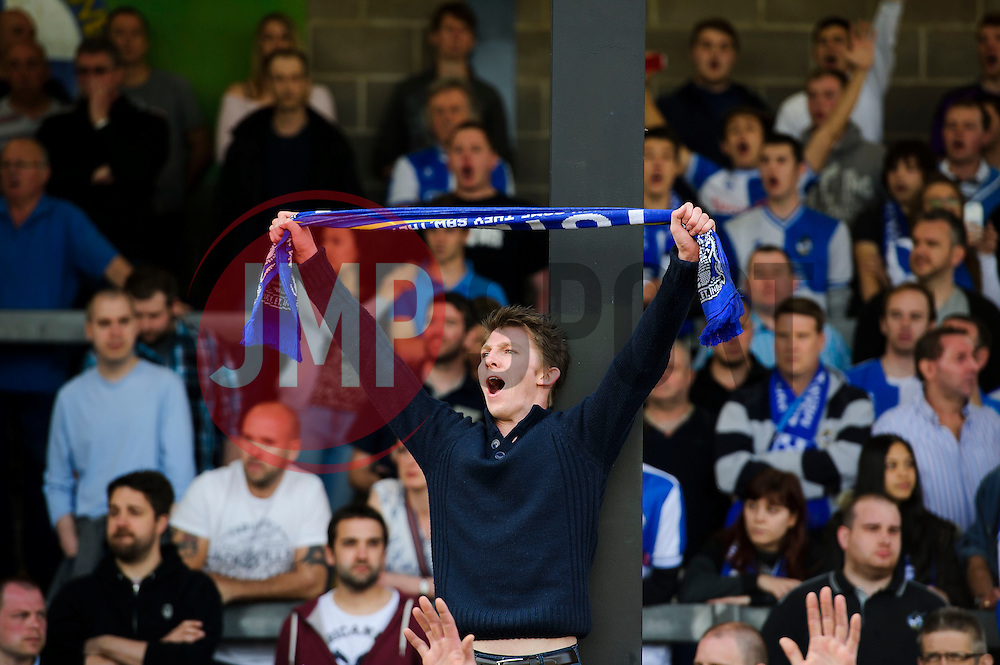 A Bristol Rovers supporter chants  after a 0-1 loss in the match to confirm their sides relegation from League 2 into the Conference division - Photo mandatory by-line: Rogan Thomson/JMP - 07966 386802 - 03/05/2014 - SPORT - FOOTBALL - Memorial Stadium, Bristol - Bristol Rovers v Mansfield Town - Sky Bet League Two. (Note: Mansfield are wearing a Rovers spare kit having forgotten their own).