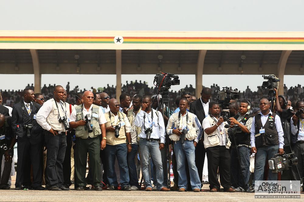 Journalists wait for the arrival of Ghana's new president John Atta Mills in Accra, Ghana on Wednesday January 7, 2009.