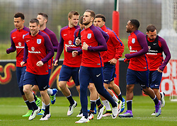 England's Jordan Henderson and James Milner (Liverpool) warm up - Mandatory byline: Matt McNulty/JMP - 22/03/2016 - FOOTBALL - St George's Park - Burton Upon Trent, England - Germany v England - International Friendly - England Training and Press Conference