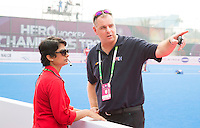 BHUBANESWAR  (INDIA) -   England vs Belgium on day 3 of the Hero Champions Trophy Hockey.  FIH Floormanager Josefine Sequeira with Rogier Warris (Tech. Officer).  Photo KOEN SUYK