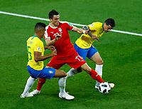 Milos Veljkovic (Serbia) between Casemiro and Fagner (Brazil)<br /> Moscow 27-06-2018 Football FIFA World Cup Russia  2018 <br /> Serbia - Brazil / Serbia - Brasile<br /> Foto Matteo Ciambelli/Insidefoto
