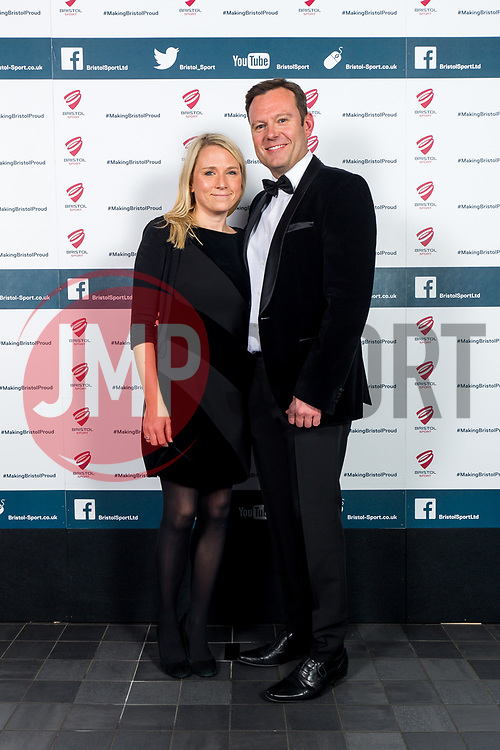 Georgina Fell and Mark Ashton look on as Bristol Sport hosts their annual Gala Dinner at Ashton Gate Stadium - Rogan/JMP - 14/12/2017 - SPORT - Ashton Gate Stadium - Bristol, England - Bristol Sport Gala Dinner 2017.