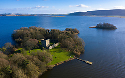 Aerial view of Loch Leven Castle on Loch Leven in Fife, Scotland, UK